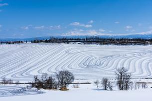 美瑛の丘の融雪作業の写真素材 [FYI04115754]