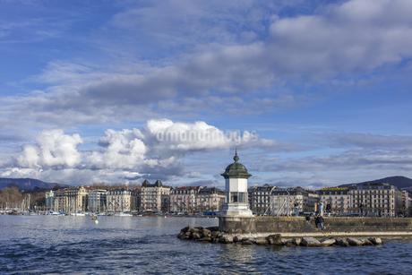 スイス、ジュネーブ、レマン湖の風景の写真素材 [FYI04115939]