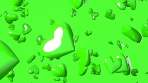 Green heart objects in green background.のイラスト素材 [FYI04115945]
