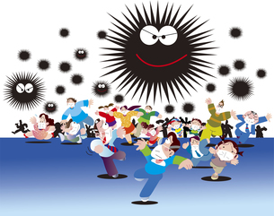 新型ウイルス感染と群衆のイラスト素材 [FYI04116826]