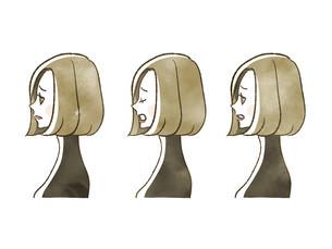 女性-表情(横顔)のイラスト素材 [FYI04116867]