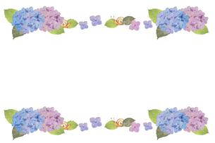 紫陽花とカタツムリのフレームのイラスト素材 [FYI04116869]