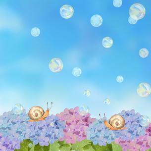 紫陽花とカタツムリとシャボン玉のイラスト素材 [FYI04117067]