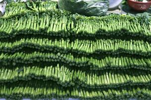 市場で売られる香港人(広東人)が最も好み、年間を通じて食べるカイラン菜、菜心(チョイサム)と呼ばれる。味は菜の花とグリーンアスパラの中間のような味。茹でてオイスターソースをかけて食べるのが一般的の写真素材 [FYI04117456]