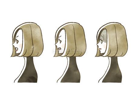 女性-表情(横顔)のイラスト素材 [FYI04117555]