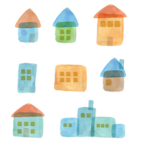 水彩の家セットのイラスト素材 [FYI04117634]