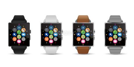 スマートウォッチ腕時計4色のベクターイラスト白バックのイラスト素材 [FYI04117654]