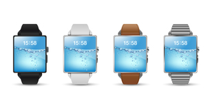 スマートウォッチ腕時計4色のベクターイラスト白バックのイラスト素材 [FYI04117656]