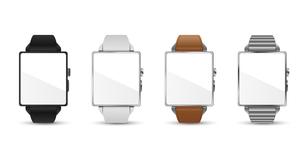 スマートウォッチ腕時計4色のベクターイラスト白バックのイラスト素材 [FYI04117657]