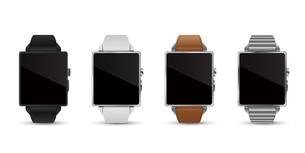 スマートウォッチ腕時計4色のベクターイラスト白バックのイラスト素材 [FYI04117659]