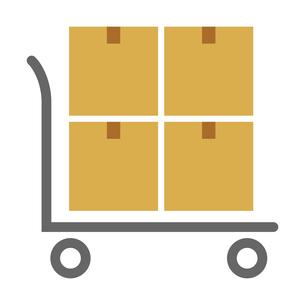 荷物ダンボールと配送台車のベクターイラストのイラスト素材 [FYI04117666]