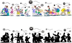 新型コロナウィルスの集団感染の街の人々のイラスト素材 [FYI04117703]