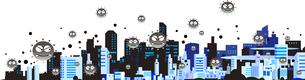 新型ウイルスに感染されたパンデミックの街のイラスト素材 [FYI04117714]