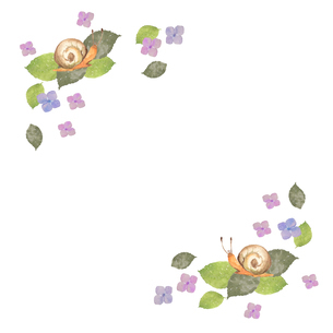 カタツムリと紫陽花フレームのイラスト素材 [FYI04118013]
