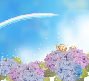 カタツムリと紫陽花と虹のイラスト素材 [FYI04118015]