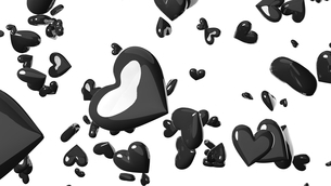 Black heart objects in white background. Cool heart-shape abstract 3D illustration.のイラスト素材 [FYI04118144]