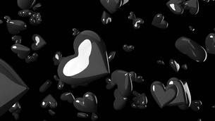 Black heart objects in black background. Cool heart-shape abstract 3D illustration.の写真素材 [FYI04118145]