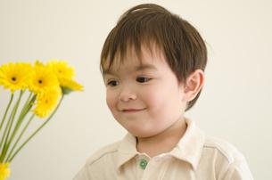 黄色いガーベラと男の子の写真素材 [FYI04118275]