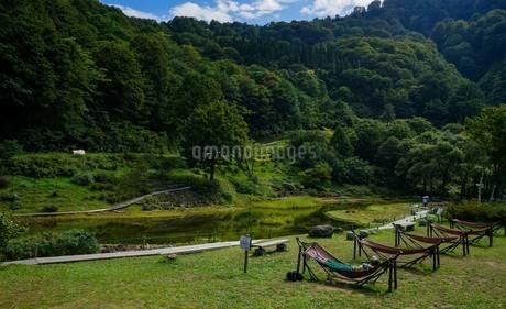 緑いっぱい、高原に設置されたハンモックでお昼寝の写真素材 [FYI04118572]