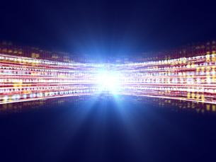 光芒と数字の流れのイラスト素材 [FYI04119609]