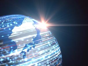 日本地図球体の上を移動する数字と射す光のイラスト素材 [FYI04119653]
