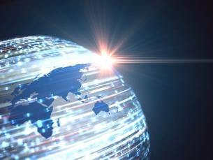 世界地図球体の上を移動する数字と射す光のイラスト素材 [FYI04119654]