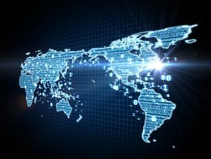 数字で埋めた世界地図と射す光のイラスト素材 [FYI04119655]