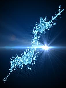 数字で埋めた日本地図と射す光のイラスト素材 [FYI04119659]