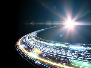 球状に放射するデータ線と射す光芒のイラスト素材 [FYI04119709]