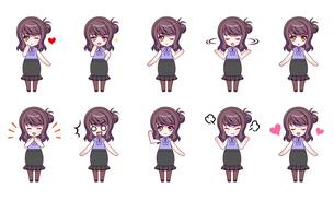 可愛い女の子キャラクターのSDイラストセットのイラスト素材 [FYI04120149]