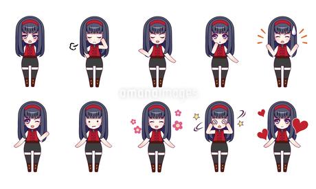 可愛い女の子キャラクターのSDイラストセットのイラスト素材 [FYI04120151]