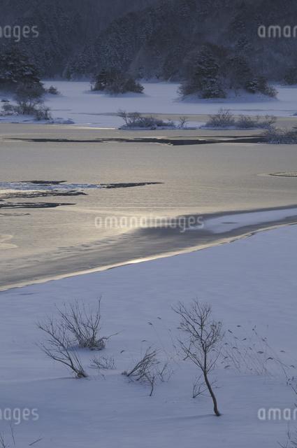 秋元湖の朝の写真素材 [FYI04120297]