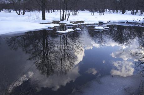 水面に映る風景の写真素材 [FYI04120315]