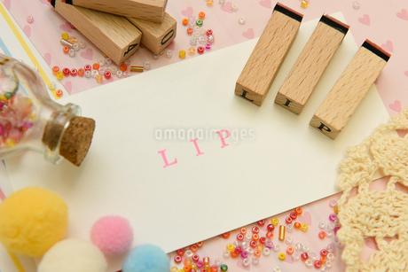 lip アルファベットスタンプをならべて単語にした素材の写真素材 [FYI04120652]
