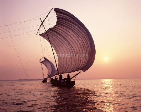 帆引き船 夕景の写真素材 [FYI04121443]