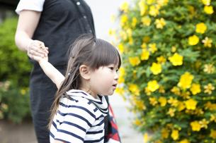お母さんとお散歩する女の子の写真素材 [FYI04128640]