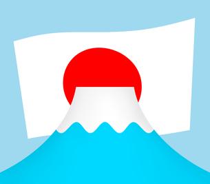 富士山と日本国旗のイラスト素材 [FYI04130681]