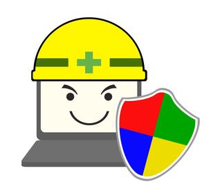 ヘルメットと楯を装備したパソコンのイラスト素材 [FYI04131046]