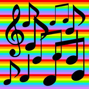 音符とカラフルな背景のイラスト素材 [FYI04131300]