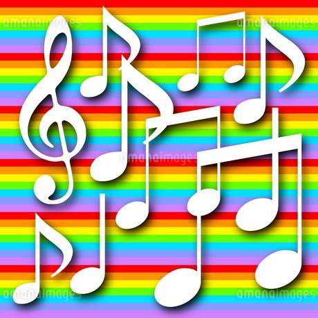 音符とカラフルな背景のイラスト素材 [FYI04131305]