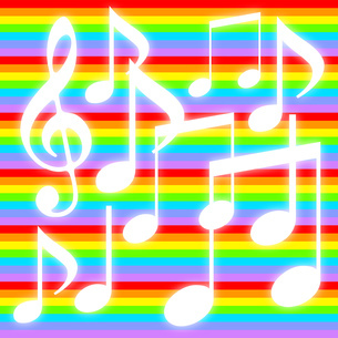 音符とカラフルな背景のイラスト素材 [FYI04131308]