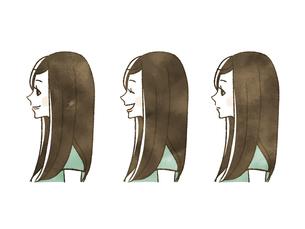 女性-表情(横顔)のイラスト素材 [FYI04131417]