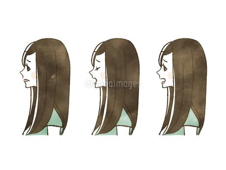 女性-表情(横顔)のイラスト素材 [FYI04131418]