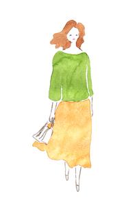 スカート姿の女性のイラスト素材 [FYI04131541]