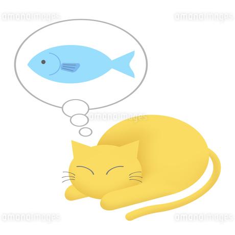 魚の夢を見る猫のイラスト素材 [FYI04131560]