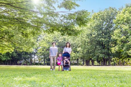 新緑の木々を背景にベビーカーを押し公園を散歩する幸せな家族イメージの写真素材 [FYI04132788]