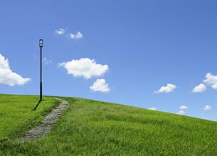 街灯と草むらの小道の写真素材 [FYI04134241]