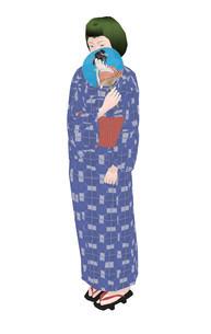 和服姿の女性のイラスト素材 [FYI04134405]