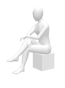 ホワイトモデル腰掛ける30センチのイラスト素材 [FYI04134431]