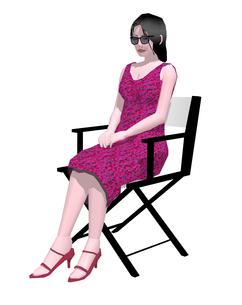 ディレクターチェアーに座る女性のイラスト素材 [FYI04134482]
